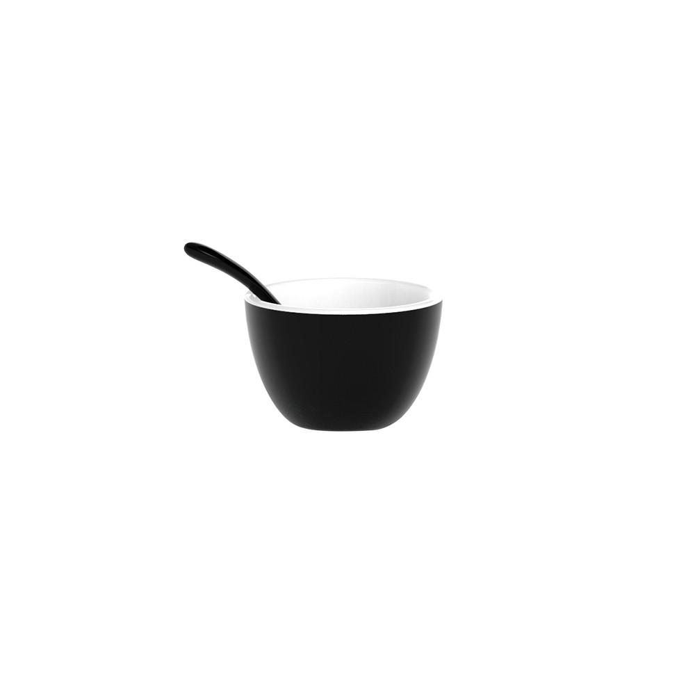 DUO - Set bol & cuillère bicolores - noir/blanc