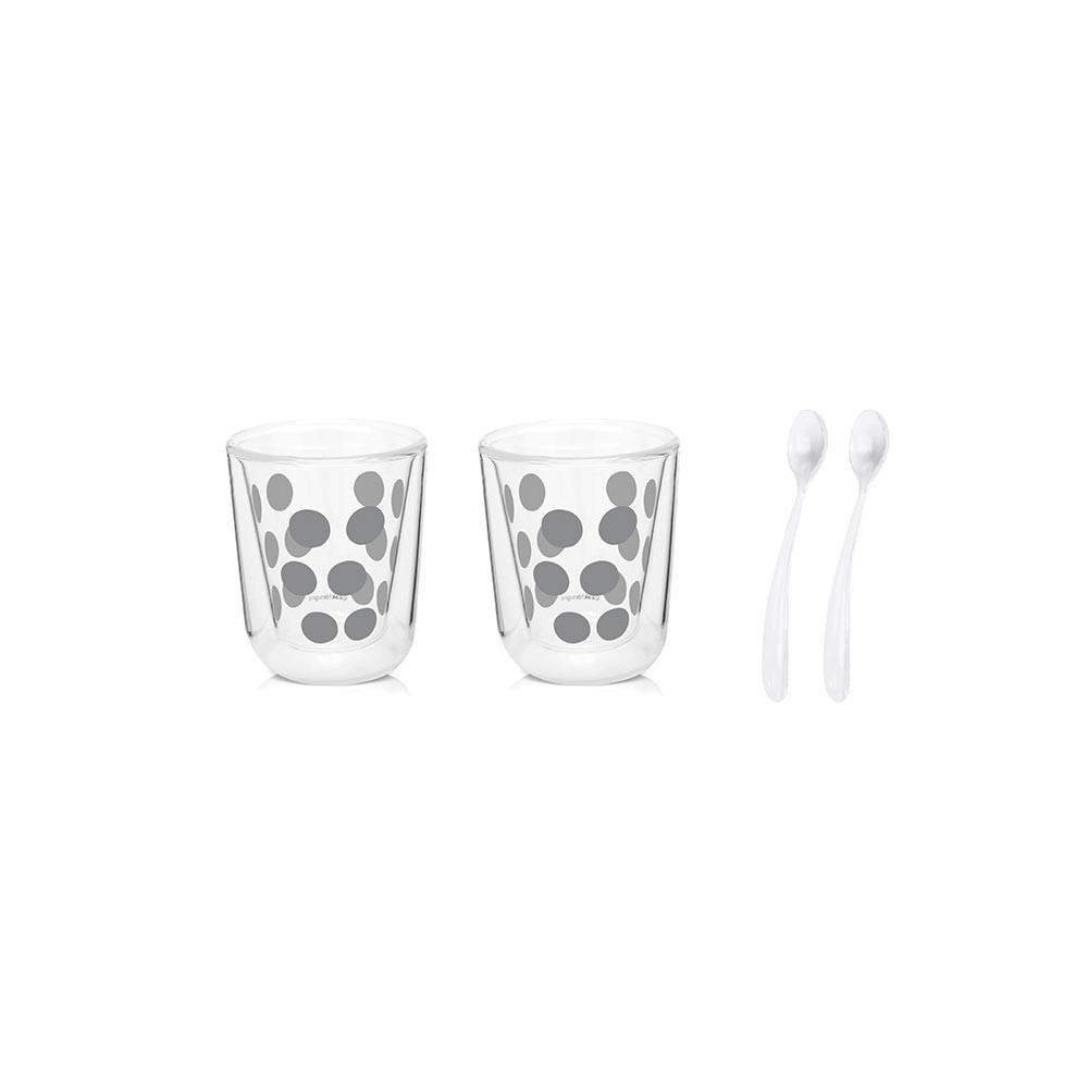 DOT DOT - Set de 2 verres à expresso double paroi 7,5cl & 2 cuillères - argenté