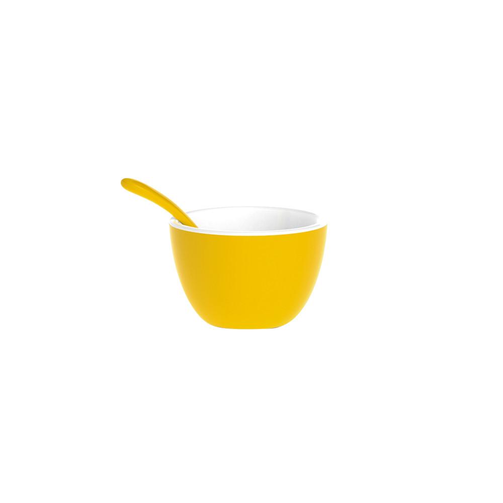 DUO - Set bol & cuillère bicolores - jaune/blanc