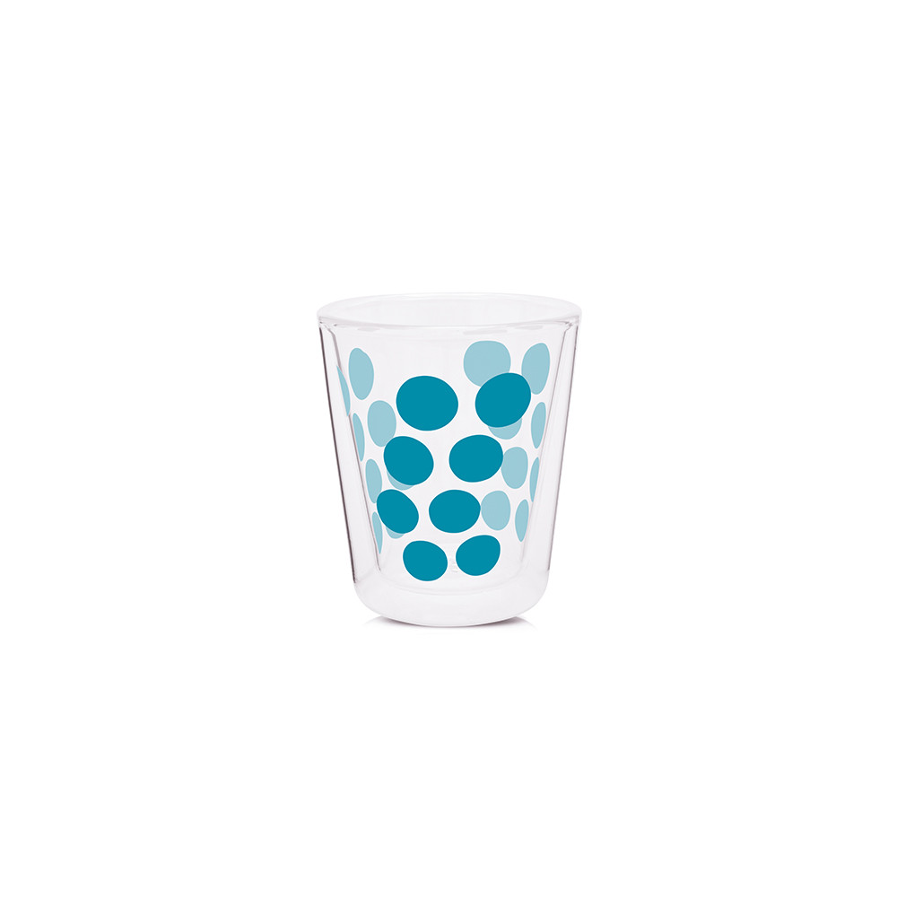 DOT DOT - Verre à café double paroi 20 cl - bleu aqua