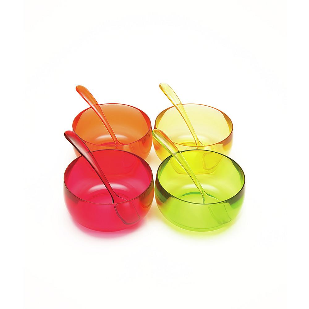STACKY - 4 coupes à dessert 11 cm + 4 cuillères 15 cm - hot pop