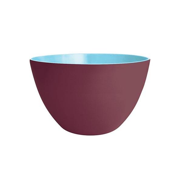 DUO - Saladier 22 cm - châtaigne extérieur/bleu ciel intérieur
