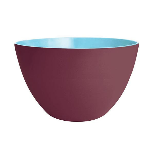 DUO - Saladier 28 cm - châtaigne extérieur/bleu ciel intérieur