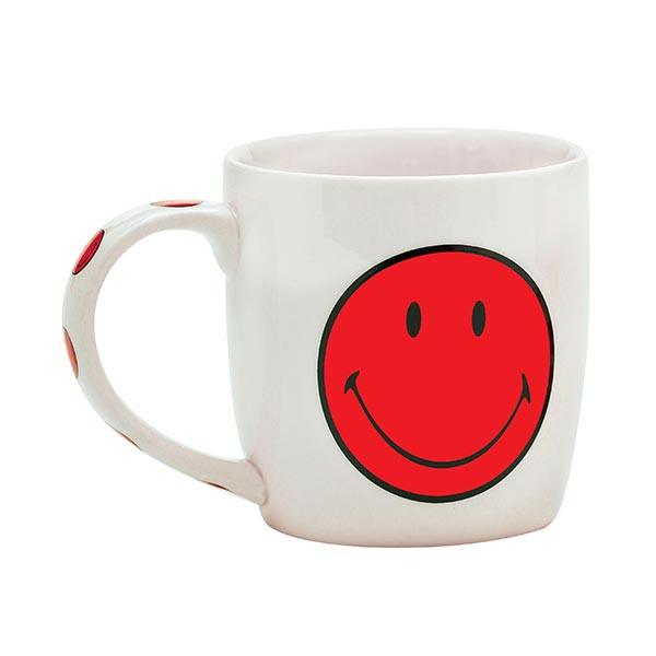 Smiley - Mug porcelaine 35cl - blanc/Smiley corail