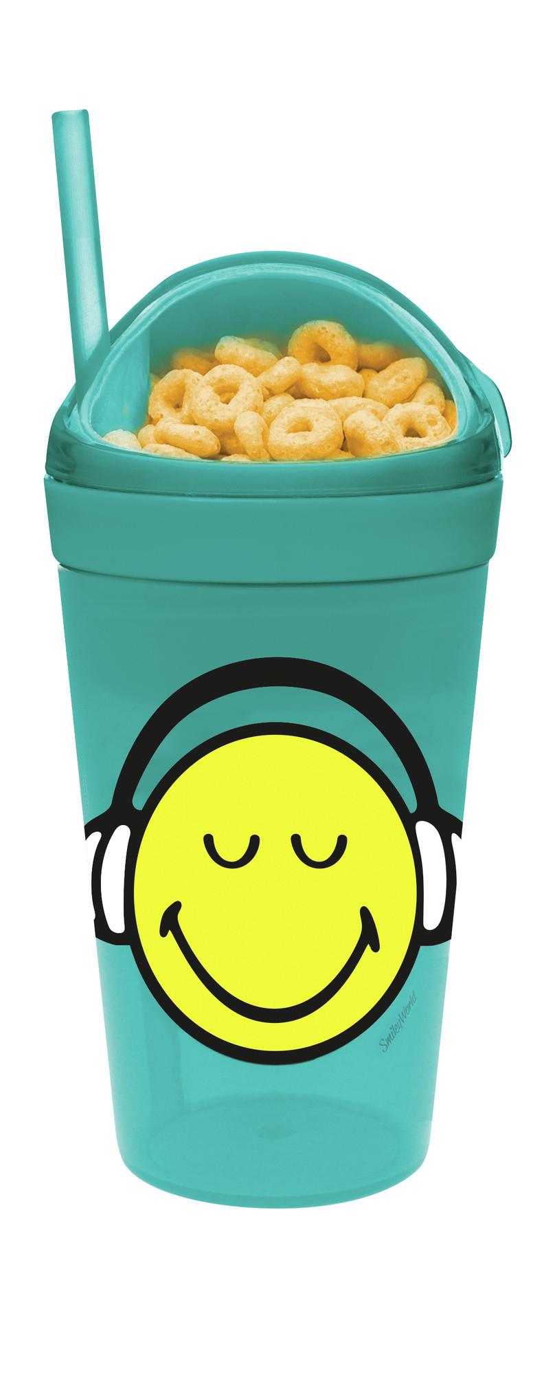 SMILEY - Mug avec compartiment goûter et paille