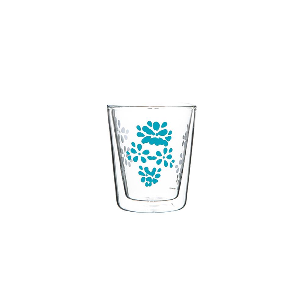 LILY - Verre à café double paroi - bleu aqua