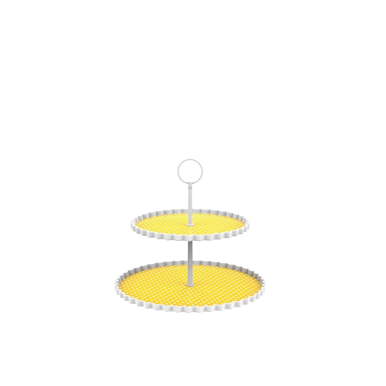 DOTTY - Présentoir à gâteaux 2 étages M - jaune