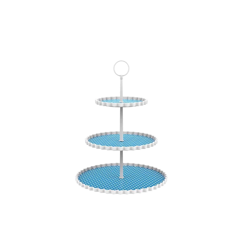 DOTTY - Présentoir à gâteaux 3 étages - bleu aqua