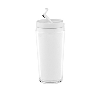 ON THE GO - Mug isotherme double paroi plastique 40 cl - blanc