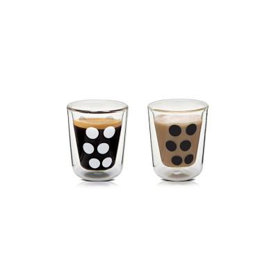 DOT DOT - Set de 2 verres à expresso double paroi 7,5 cl et 2 cuillères - Noir/blanc