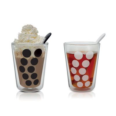 DOT DOT - Set de 2 verres à thé double paroi 35 cl et 2 cuillères - noir/blanc
