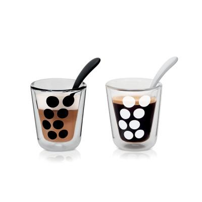 DOT DOT - Set de 2 verres à café double paroi & 2 cuillères