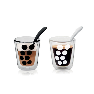 DOT DOT - Set de 2 verres à café double paroi 20 cl et 2 cuillères - noir/blanc