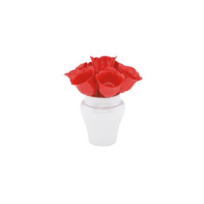 PARTY - Set de 7 piques à cocktail Fleurs 8 cm - rouge