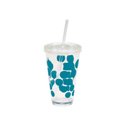 DOT- DOT - Verre à soda avec paille intégrée  57cl - Bleu Aqua
