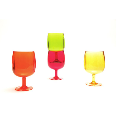 STACKY - Set de 4 verres à pied 25 cl - hot pop