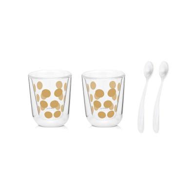 DOT DOT - Set de 2 verres à expresso double paroi 7,5cl & 2 cuillères - doré