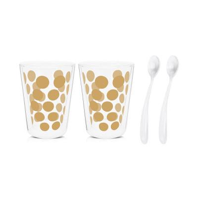 DOT DOT - Set de 2 verres à thé double paroi 35cl & 2 cuillères - doré