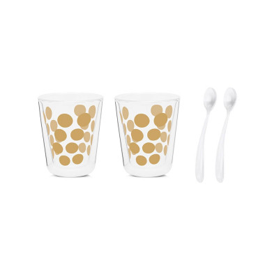 DOT DOT - Set de 2 verres à café double paroi 20cl & 2 cuillères - doré