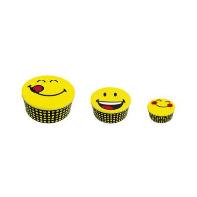 SMILEY - Set de 3 boîtes ronde en étain