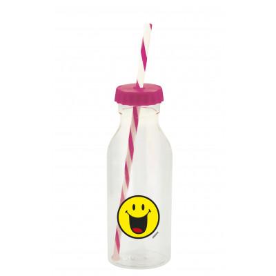 SMILEY - Bouteille soda avec paille