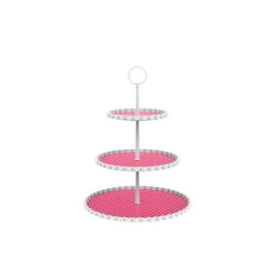 DOTTY - Présentoir à gâteaux 3 étages - grenadine