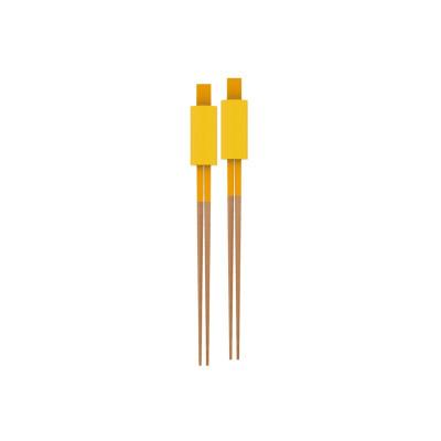 2-TONE - 2 paires de baguettes et reposes baguettes - jaune