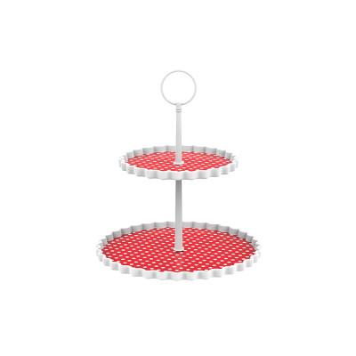 DOTTY - Présentoir à gâteaux 2 étages S - rouge